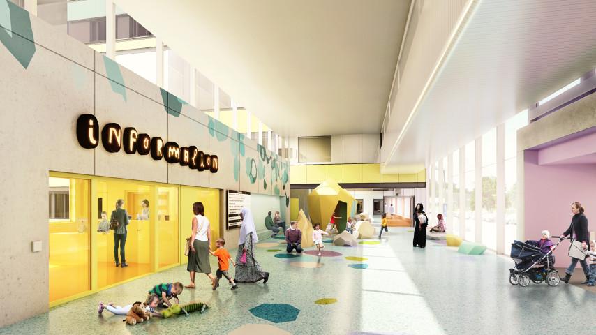 ©Jesper Nyrén. Konstnärlig utformning entré sjukhus. ©Nacho Tatjer. Konstnärlig vägledning, konst i form av ljusskylt. Skissbild: White arkitekter. Beställare: Västra Götalandsregionen.